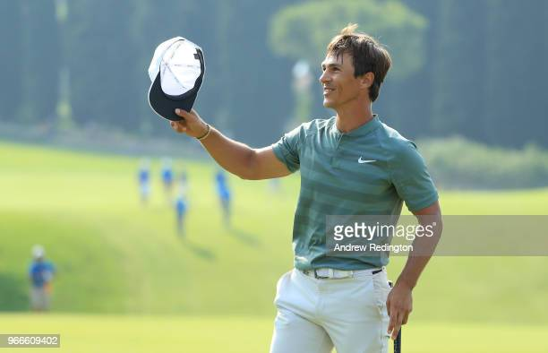 Thorbjorn Olesen of Denmark celebrates victory on the 18th green during the final round of the Italian Open at Gardagolf Country Club on June 3 2018...