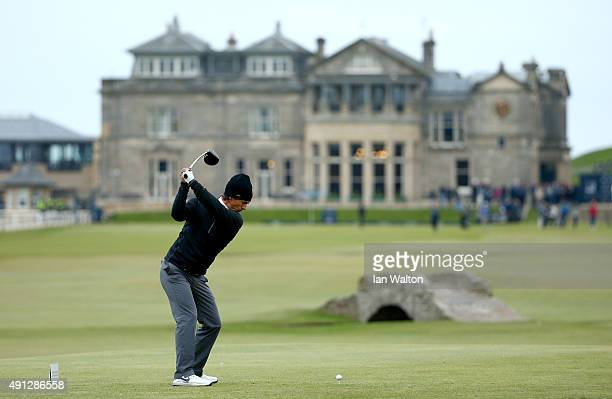 Thorbjorn Olesen of Denmark drives off the 18th tee during final round of the 2015 Alfred Dunhill Links Championship at The Old Course on October 4,...