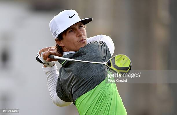 Thorbjorn Olesen of Denmark drives off the second tee during final round of the 2015 Alfred Dunhill Links Championship at The Old Course on October...