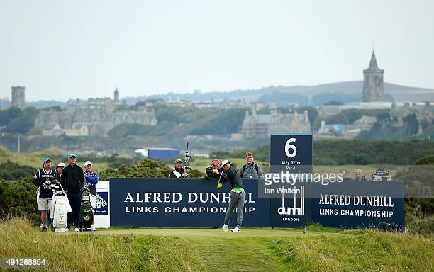 Thorbjorn Olesen of Denmark drives off the sixth tee during final round of the 2015 Alfred Dunhill Links Championship at The Old Course on October 4,...
