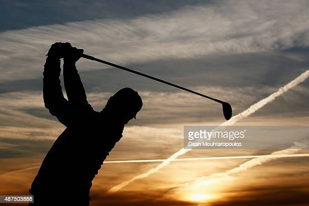 Thorbjorn Olesen of Denmark hits a practice shot on the driving range prior to Day 1 of the KLM Open held at Kennemer G & CC on September 10, 2015 in...