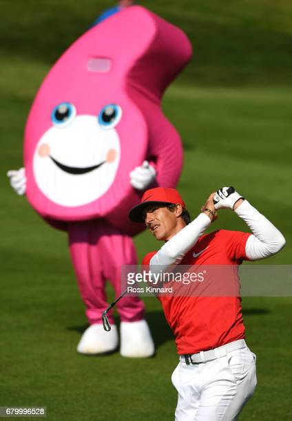 Thorbjorn Olesen of Denmark hits a second shot on the 3rd hole during the final match between Denmark and Australia during day two of GolfSixes at...