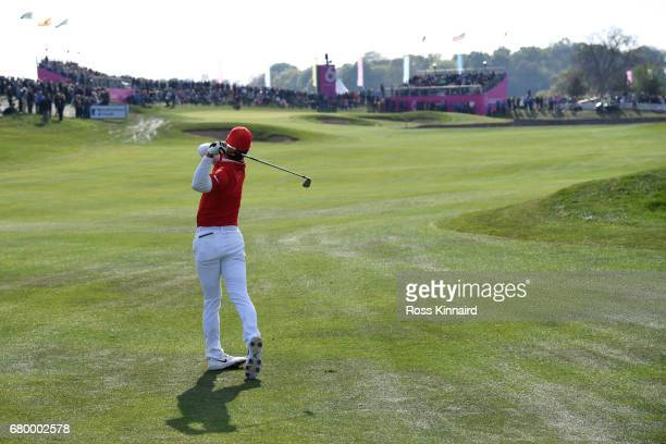 Thorbjorn Olesen of Denmark hits a second shot on the 6th hole during the final match between Denmark and Australia during day two of GolfSixes at...