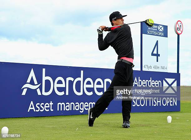 Thorbjorn Olesen of Denmark hits a tee shot on the fourth hole during a practice round prior to the start of the Aberdeen Asset Management Scottish...