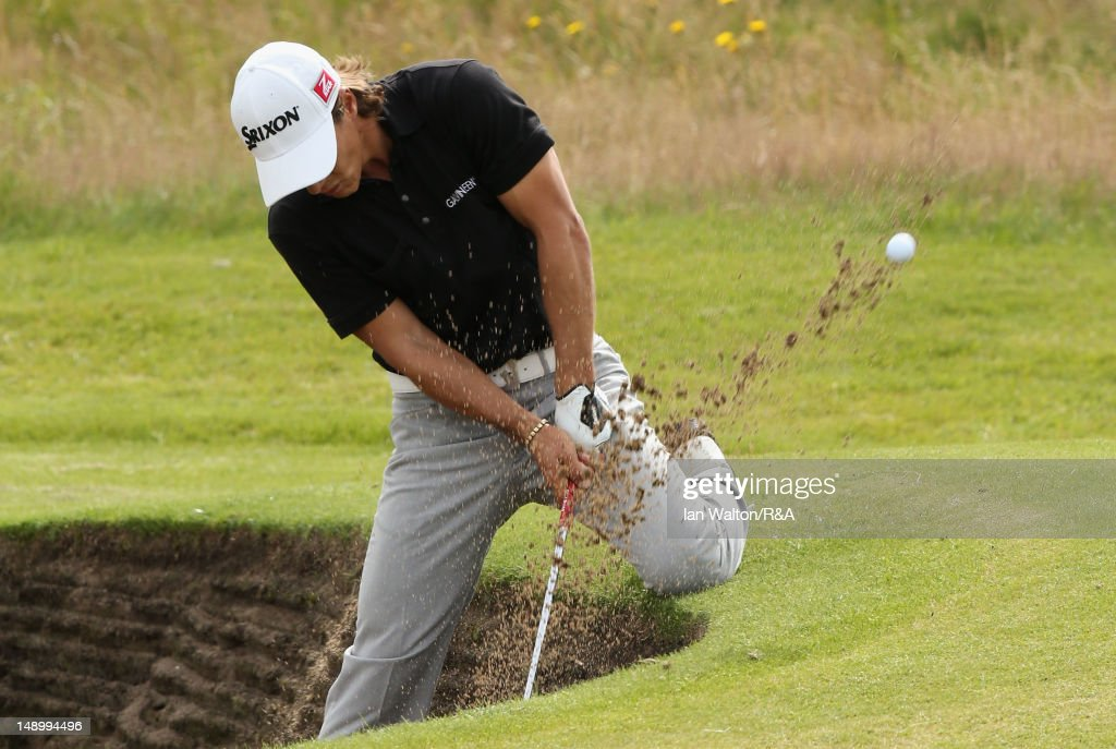 Thorbjorn Olesen of Denmark hits from a bunker on the 4th hole during the third round of the 141st Open Championship at Royal Lytham & St. Annes Golf Club on July 21, 2012 in Lytham St Annes, England.