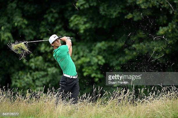 Thorbjorn Olesen of Denmark hits from the rough during the final round of the BMW International Open at Gut Larchenhof on June 26 2016 in Cologne...