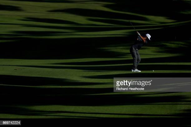 Thorbjorn Olesen of Denmark hits his second shot on the 11th hole during the first round of the Turkish Airlines Open at the Regnum Carya Golf Spa...