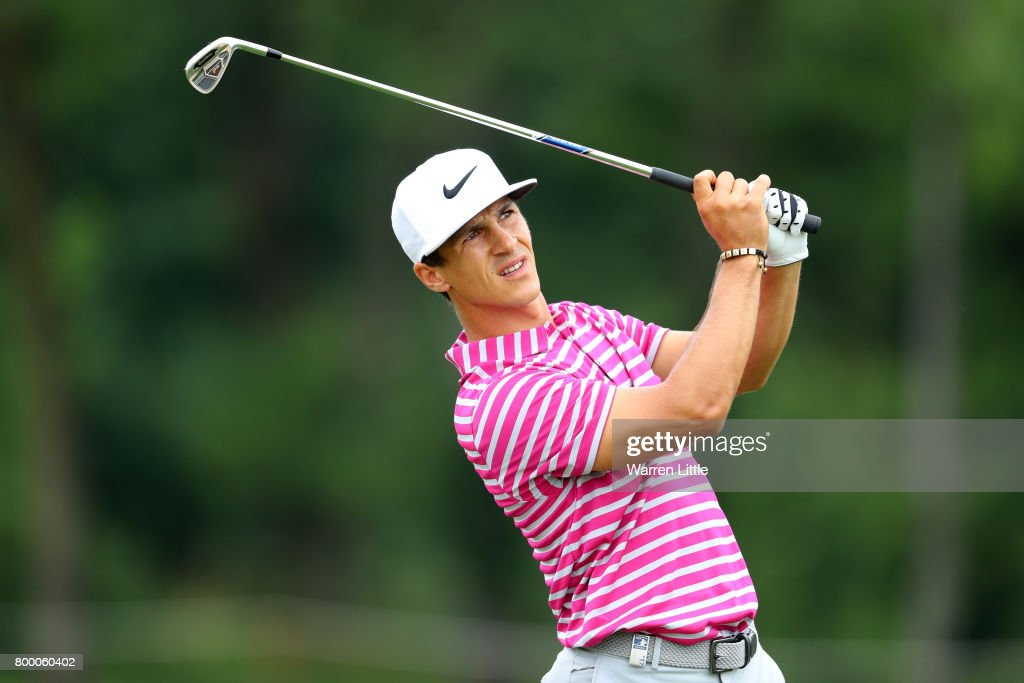 Thorbjorn Olesen of Denmark hits his second shot on the 15th hole during day two of the BMW International Open at Golfclub Munchen Eichenried on June 23, 2017 in Munich, Germany.