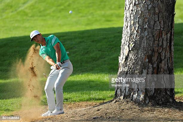 Thorbjorn Olesen of Denmark hits his second shot on the 16th hole during day four of the Turkish Airlines Open at the Regnum Carya Golf Spa Resort on...