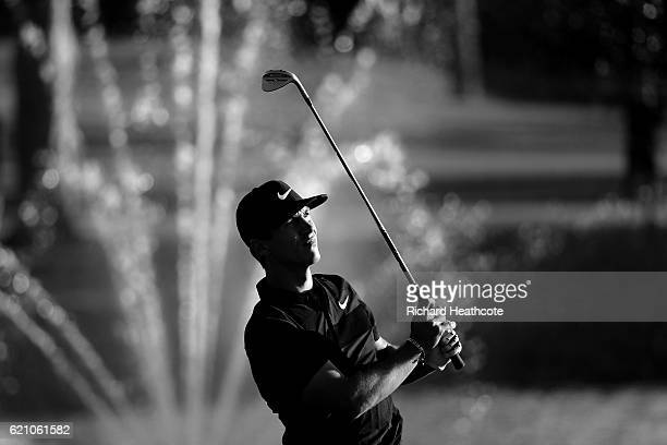 Thorbjorn Olesen of Denmark hits his second shot on the 18th hole during the second round of the Turkish Airlines Open at the Regnum Carya Golf Spa...