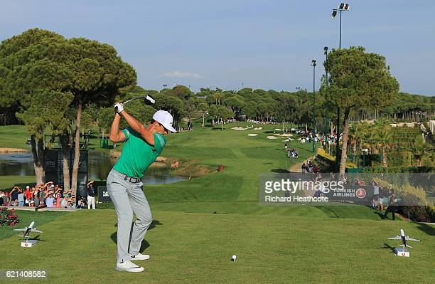 Thorbjorn Olesen of Denmark hits his tee shot on the 16th hole during day four of the Turkish Airlines Open at the Regnum Carya Golf Spa Resort on...