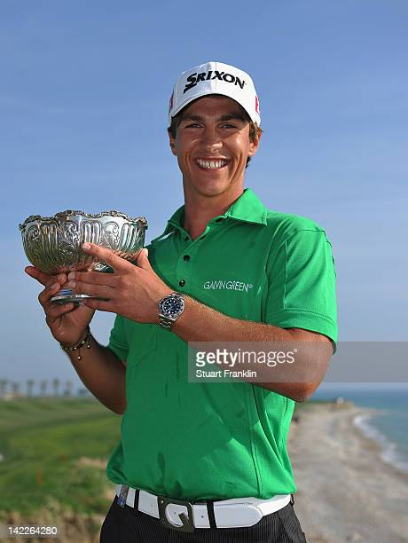 Thorbjorn Olesen of Denmark hods the trophy after winning the Sicilian Open at Verdura Golf and Spa Resort on April 1 2012 in Sciacca Italy
