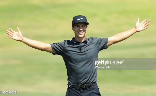 Thorbjorn Olesen of Denmark in action during the proam of the Portugal Masters at the Dom Pedro Victoria Golf Club on September 20 2017 in Albufeira...