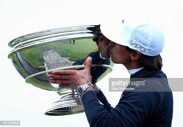 Thorbjorn Olesen of Denmark kisses with the trophy on the 18th green after victory in the 2015 Alfred Dunhill Links Championship at The Old Course on...
