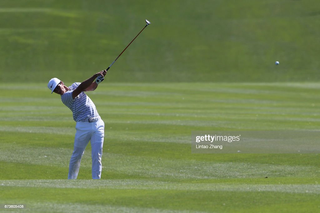 Thorbjorn Olesen of Denmark plays a shot during the first round of the 2017 Volvo China open at Topwin Golf and Country Club on April 27, 2017 in Beijing, China.