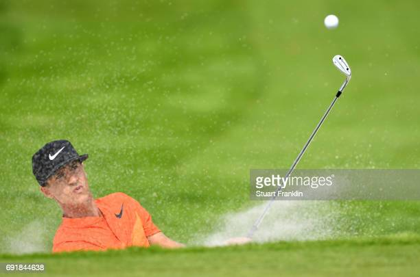 Thorbjorn Olesen of Denmark plays a shot from a bunker during day three of Nordea Masters at Barseback Golf Country Club on June 3 2017 in...