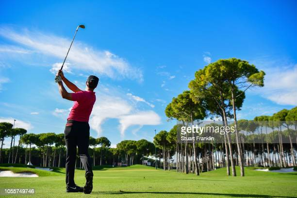 Thorbjorn Olesen of Denmark plays a shot in the pro am prior to the start of the Turkish Airlines Open at the Regnum Carya Golf Spa Resort on October...