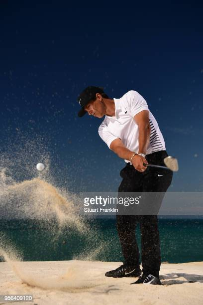 Thorbjorn Olesen of Denmark plays a shot prior to the start of The Rocco Forte Open at the Verdura golf resort on May 9 2018 in Sciacca Italy