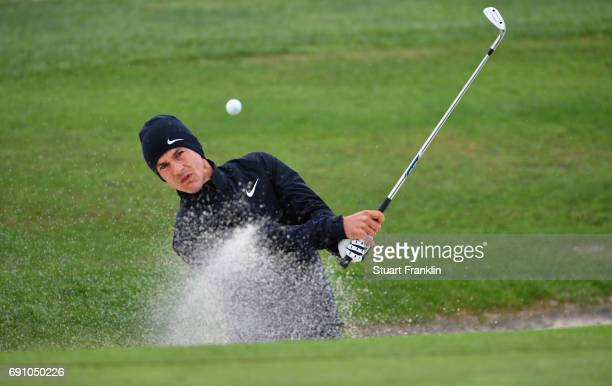 Thorbjorn Olesen of Denmark plays from a bunker during day one of the Nordea Masters at Barseback Golf Country Club on June 1 2017 in Barsebackshamn...