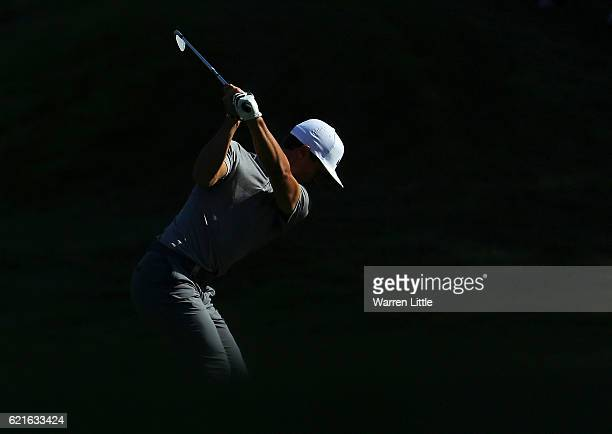Thorbjorn Olesen of Denmark plays his second shot into third green during day three of the Turkish Airlines Open at the Regnum Carya Golf Spa Resort...