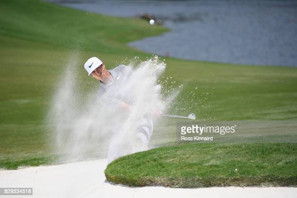 Thorbjorn Olesen of Denmark plays his shot out of the bunker on the 16th hole during the first round of the 2017 PGA Championship at Quail Hollow...