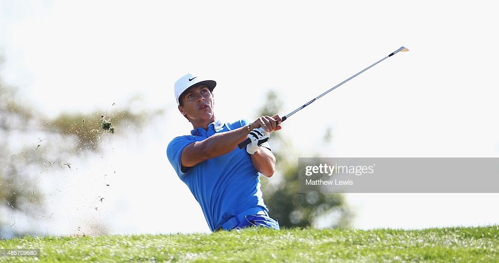 Thorbjorn Olesen of Denmark plays out of a bunker on the 15th hole during day three of the D+D Real Czech Masters at Albatross Golf Resort on August 29, 2015 in Prague, Czech Republic.