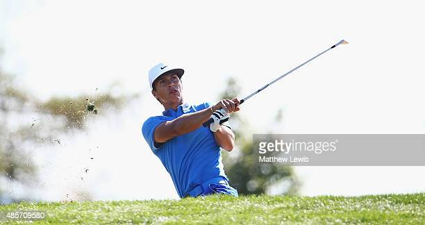 Thorbjorn Olesen of Denmark plays out of a bunker on the 15th hole during day three of the DD Real Czech Masters at Albatross Golf Resort on August...