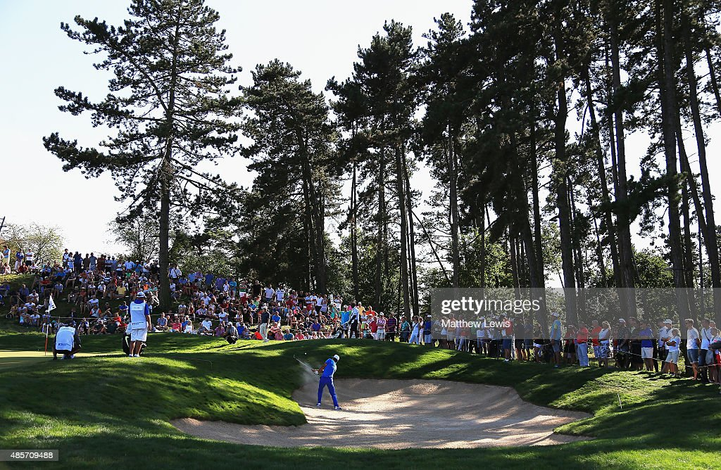 Thorbjorn Olesen of Denmark plays out of a bunker on the 16th hole during day three of the D+D Real Czech Masters at Albatross Golf Resort on August 29, 2015 in Prague, Czech Republic.