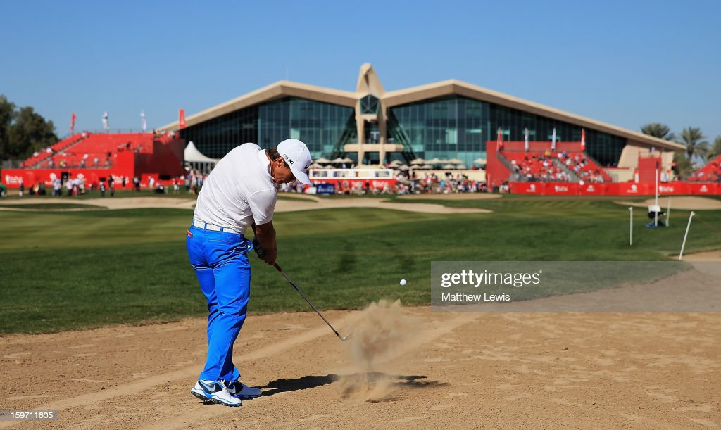 Thorbjorn Olesen of Denmark plays out of the rough on the 9th hole during day three of the Abu Dhabi HSBC Golf Championship at Abu Dhabi Golf Club on January 19, 2013 in Abu Dhabi, United Arab Emirates.