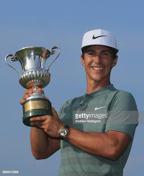 Thorbjorn Olesen of Denmark poses with the trophy after winning the Italian Open at Gardagolf Country Club on June 3, 2018 in Brescia, Italy.