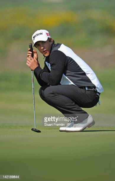 Thorbjorn Olesen of Denmark reacst to a putt during the third round of the Sicilian Open at Verdura Golf and Spa Resort on March 31 2012 in Sciacca...