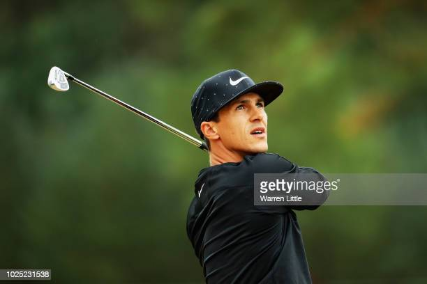 Thorbjorn Olesen of Denmark reacts after playing his second shot on the 9th hole during day one of the Made in Denmark played at the Silkeborg Ry...