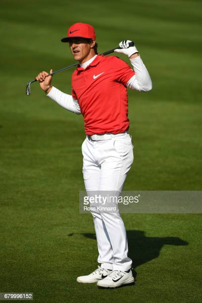 Thorbjorn Olesen of Denmark reacts during the final match between Denmark and Australia during day two of GolfSixes at The Centurion Club on May 7...