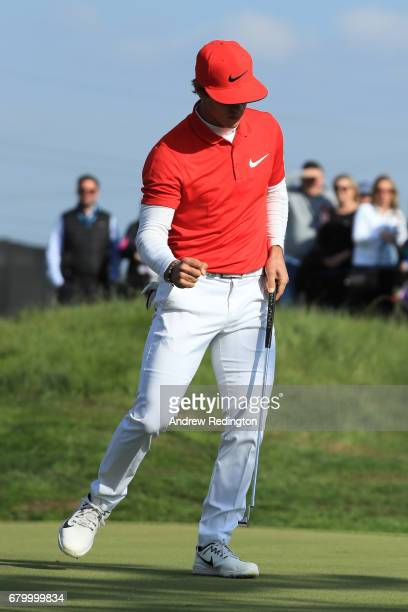 Thorbjorn Olesen of Denmark reacts to a birdie putt on the 5th green during the final match between Denmark and Australia during day two of GolfSixes...