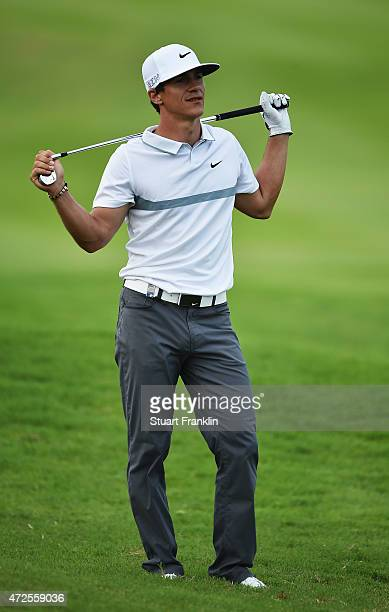 Thorbjorn Olesen of Denmark reacts to a shot during the second round of the AfrAsia Bank Mauritius Open at Heritage Golf Club on May 8 2015 in Bel...