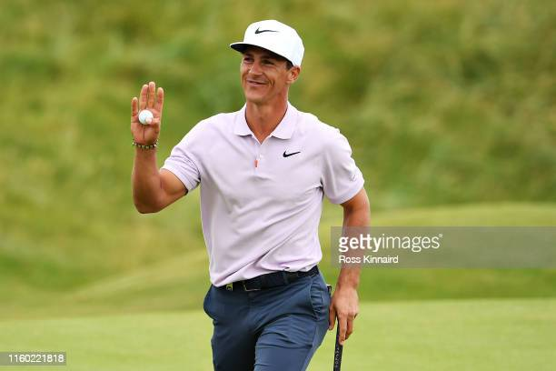 Thorbjorn Olesen of Denmark reacts to his birdie putt on the seventh hole during Day Two of the Dubai Duty Free Irish Open at Lahinch Golf Club on...