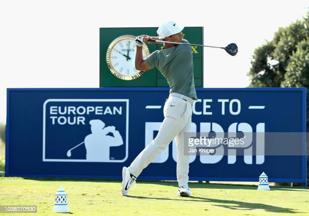 Eddie Pepperell of England tees off on hole one during Day Four of the Portugal Masters at Dom Pedro Victoria Golf Course on September 23 2018 in...