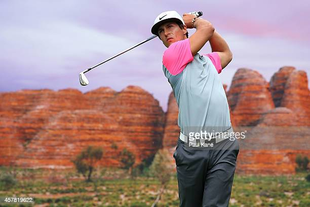 Thorbjorn Olesen of Denmark tees off on the 15th hole during day three of the 2014 Perth International at Lake Karrinyup Country Club on October 25...