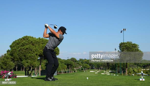 Thorbjorn Olesen of Denmark tees off on the 16th hole during the second round of the Turkish Airlines Open at the Regnum Carya Golf Spa Resort on...
