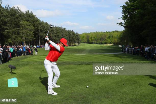 Thorbjorn Olesen of Denmark tees off on the 2nd hole during the final match between Denmark and Australia during day two of GolfSixes at The...