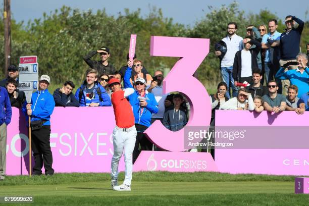 Thorbjorn Olesen of Denmark tees off on the 3rd hole during the final match between Denmark and Australia during day two of GolfSixes at The...