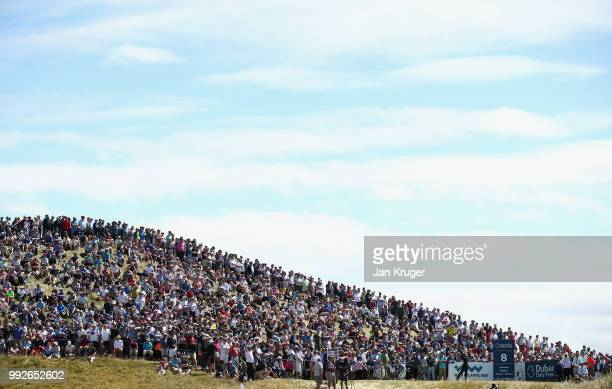 Thorbjorn Olesen of Denmark tees off on the eighth hole during the second round of the Dubai Duty Free Irish Open at Ballyliffin Golf Club on July 6,...