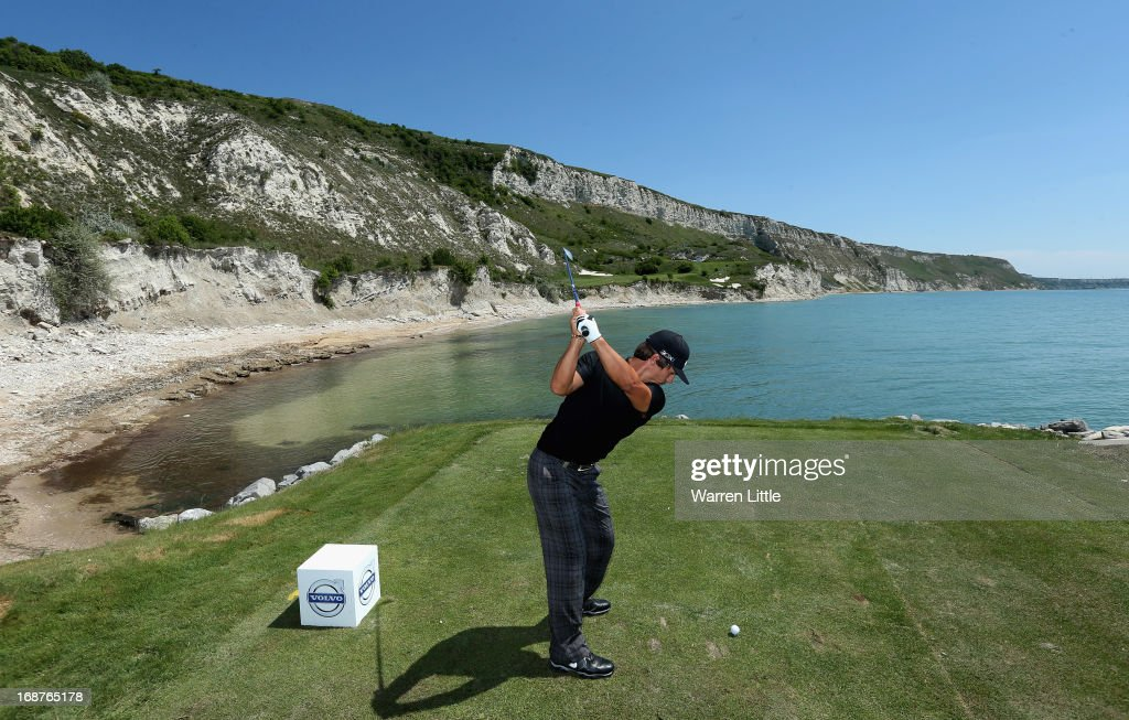Thorbjorn Olesen of Denmark tees off on the ninth hole during the pro am event prior to the Volvo World Match Play Championship at Thracian Cliffs Golf & Beach Resort on May 15, 2013 in Kavarna, Bulgaria.