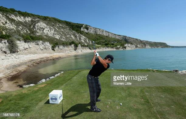 Thorbjorn Olesen of Denmark tees off on the ninth hole during the pro am event prior to the Volvo World Match Play Championship at Thracian Cliffs...