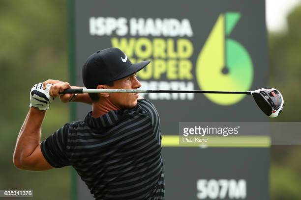Thorbjorn Olesen of Denmark watches his tee shot on the 3rd hole during previews ahead of the ISPS HANDA World Super 6 Perth at Lake Karrinyup...