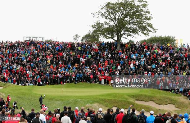 Thorbjorn Olesen of Denmark waves to the crowd on the 16th hole during the final round of the Made In Denmark at Himmerland Golf Spa Resort on August...