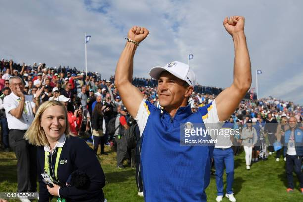 Thorbjorn Olesen of Europe celebrates winning his match during singles matches of the 2018 Ryder Cup at Le Golf National on September 30, 2018 in...
