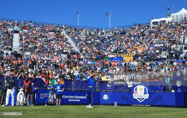 Thorbjorn Olesen of Europe plays his shot from the first tee during singles matches of the 2018 Ryder Cup at Le Golf National on September 30 2018 in...