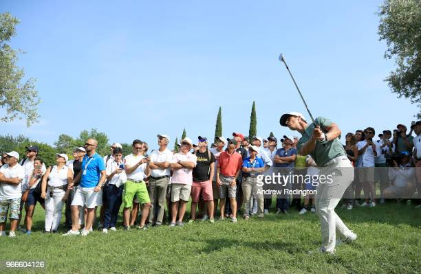 Thorbjorn Olesen plays his second shot on the 15th hole during the final round of the Italian Open at Gardagolf Country Club on June 3, 2018 in...