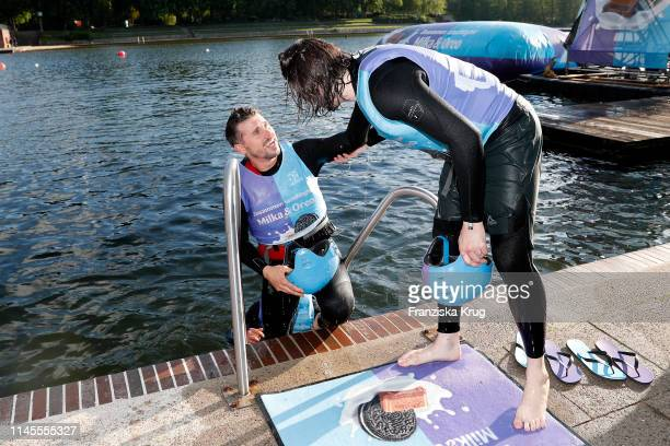Thore Schoelermann and Gil Ofarim during the Milka Charity Blobbing-Event at Hamburger Stadtpark on May 22, 2019 in Hamburg, Germany.